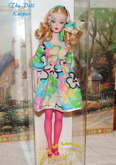 GAW Groovy in London Silkstone Barbie Doll (The doll keeper) Tags: silkstone barbie doll groovy london flower power dress pink stockings grant a wish fishnet fashion 60s