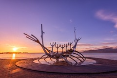 Sunset Voyager (lensjourner) Tags: ifttt 500px sky landscape sea sunset water nature beach travel sun ocean summer evening sand dawn seashore dusk viking iceland sculpture voyager solfar