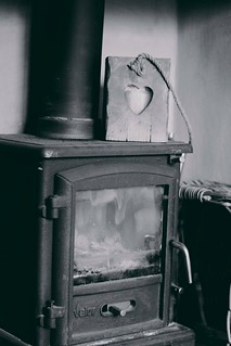 Log burner in B&W