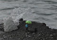 Miss Oblivious (elpedro1960) Tags: rock sea wave water splash walking stroll umbrella coastal seaside composite narrowneck devonport auckland new zealand seascape