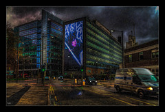 Neon Sign (Kev Walker ¦ From Manchester) Tags: architecture building canon1100d canon1855mm castlefileds citycentre england hdr lancashire manchester northwest outdoor photoart photoborder postprocessing spinningfields streetlamps streetlights
