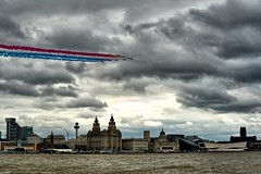 Royal Air Force - Red Arrows display team, over Liverpool UK (Paul_Dean) Tags: redarrows raf liverpool forcesday hawk