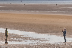 The Iron Man and the Cameraman (Bob Edwards Photography - Picture Liverpool) Tags: beach cameraman ironman crosby anthonygormley merseyside