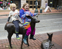 (K.Logan.Sullivan) Tags: portland animals statues riders downtown deer climb publicart