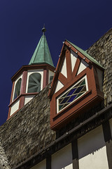 Solvang Architecture Detail (Thad Zajdowicz) Tags: zajdowicz solvang california availablelight canon eos 5dmarkiii 5d3 dslr digital lightroom ef24105mmf4lisusm travel sky color outdoor outside blue green red colour architecture roof windows danish spire lines angles pov geometric
