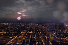 Full moon over Chicago! (ShanePix) Tags: chicago cityscape plaza skyscraper fisheye nikon d4 reflection wide angle street city glass windows office buildings steel illinois windy architecture nikond4 wideangle windycity landscape light bokeh flare water blue clouds sunset bluehour magichour lake longexposure skyline sky building fullmoon moon willistower nighttime fog