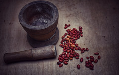 some of my favorite things.... (Leitratista) Tags: peanuts nuts stilllife focus composition tabletop color 1855mmafpvrkit nikondslr nikond3400 kitlens photography photographyart photolovers learnphotography art visualart visualnarrative throughherlens food foodphotography shape almires mortar pound device wood woodenalmires