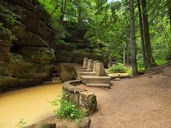 Bridge-Hocking Hills. Old Man's Cave Gourge, OH (rhbonham) Tags: rockformations landscape stream treess ohio hockinghills bridge elements