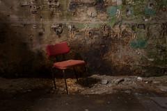 R E D (michael_hamburg69) Tags: lostplace offthemap abandonedplace urbanexploration urbex phototourmit3daybeard3tagebart verfall decay beautyofdecay chair red rot stuhl wand wall