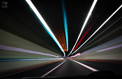 Highway Tunnel (Zano91) Tags: light trails lighttrails night long exposure car road street bypass asphalt urban laser beams colors stripes mood atmosphere city dark nikon d7100 nightshooters fast contrast outdoor tunnel spped highway motorway sigma 1835mm lights green red white strip a1