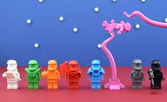 LEGO Monochrome space🎨🌍 (Alex THELEGOFAN) Tags: lego legography minifigure minifigures minifig minifigs minifigurine minifigurines monochrome monofigs white bright green red orange azure dark bluish gray black pink space galaxy stars star alien monster planet spaceman cosmonaut