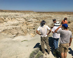 006 Doug Medvile Explains The Geology (saschmitz_earthlink_net) Tags: 2017 newmexico sanjuancounty angelpeakscenicarea kutzcanyon badlands mudstone