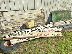 Biscuits and Bible School (lasouche10) Tags: signs sign biscuit bible school sausage gravy south old weathered