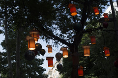 Tree ornaments (Kirlikedi) Tags: tree lamp oillamps balloon ornamental decor street ball red exceed rope leaf light cone
