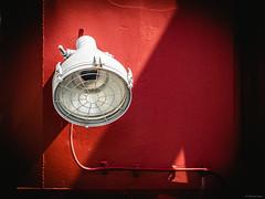 Ship Detail 2 - Sassnitz, Germany (Sebastian Bayer) Tags: norddeutschland mft deutschland sassnitz micro43 124028 hafen schiff kontraste rügen rot schatten omdem5ii lampe olympus monoton urlaub minimalistisch serie ausflug detail mecklenburgvorpommern de