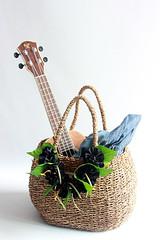 wicker basket ( black ribbon lei included )/Flower basket /Straw Bag/ Summer Bag/Straw Beach Bag/shopping bag/French Basket/picnic basket / wicker basket ( black ribbon lei included )/Flower basket /Straw Bag/ Summer Bag/Straw Beach Bag/shopping bag/Frenc (yooheeahn) Tags: wicker basket strawbag ukulele ukulelebag hawaiian ribbonlei flower flowerbasket