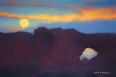 Digital Oil Painting of the Moon over the North Window in Arches National Park by Charles W. Bailey, Jr. (Charles W. Bailey, Jr., Digital Artist) Tags: moon moonlight landscape stonearches sandstone northwindow archesnationalpark moab utah usa northamerica photoshop photomanipulation topaz topazlabs topazrestyle topazimpression turner oilpainting painting art fineart visualarts digitalart artist digitalartist charleswbaileyjr