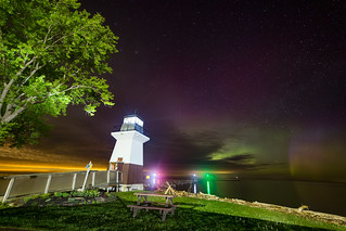 Northern Lights Beyond Point Breeze Lighthouse