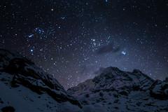 Starry night up in the mountains (munjean) Tags: stars night starry mountains snow dark annapurnabasecamp annapurna nepal trekking hiking camp sky