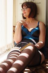 Strips (David Blandford photography) Tags: lady molly model window shadow stripes