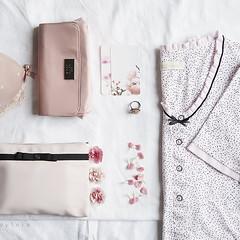 Pink Day (Sylvia Houben) Tags: knolling flatlay powderpink carnationpink pink pinkday flowers carnations nightdress bra ring makeupbag smallcards prettythingsinpink onwhite summer