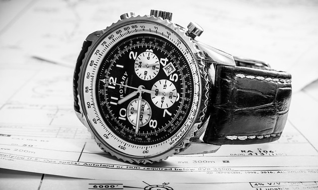 Aviator watch on Jeppesen approach plates