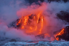 Fire and Water (Jaykhuang) Tags: lava lavaflows hawaii bigisland hawaiiisland volcanoesnationalpark boat tour ocean pacificocean water volcano hot heat jayhuangphotography