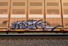 MASK (TheGraffitiHunters) Tags: mask graffiti graff spray paint street art colorful freight train tracks rolling canvas painted steeel autoracks racks ribbet