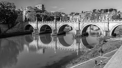 eternal run (Sergey S Ponomarev) Tags: eos sergeyponomarev canon 70d ef24105f40l city citta rome roma italy italia travel tourism monochrome bw blackandwhite biancoenero may maggio spring primavera 2017 landscape cityscape river tevere tiber bridge people run time reflections morning sunrise europe сергейпономарев город пейзаж путешествия туризм италия рим мост утро монохром чб тибр отражения весна май европа ватикан