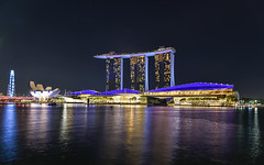 Marina Bay Sands and the ArtScience Museum in Singapore (Merrillie) Tags: night resort artsciencemuseum water city cityscape nighttime lights travel asia marinabaysands singapore waterscape nightscape skyline touristattraction architecture