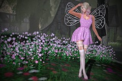 Hidden Summer Fairy (lauragenia.viper) Tags: empire eternaldream glamaffair lelutka lumipro maitreya secondlife secondlifefashion sntch ysys virtual avatar pink fairy wings stockings thighhighs flowers outdoor person girl woman blond blonde bento chloe fish4this free freebie