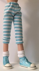 Aqua and White Striped Leggings...For Blythe...