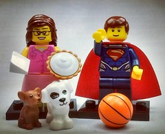 Super Hero Basketballer and Origami Pie Girl with Dogs. Brick Yourself figures of the week! See more quirky characters at brickyourself.com.au!  #brickyourself #brickmandan #makeyourselfinlego #lego