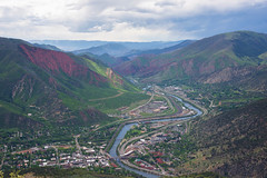 Sea Above, Valley Below (kirstenscamera) Tags: co glenwoodsprings colorado west redmountain roaringforkriver storm clouds cloudy overcast city urban village transfertrail nikon d810 hotelcolorado watertower mountains valley canyon outside hike red above hotsprings trail hiker glenwoodhotsprings green mist serene