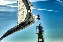Ripped Spinnaker (zebrazoma) Tags: yellow sky sea wind clouds navigation sailing rocks nikon black wave sud danger noir outdoors jaune mer 70200 rochers spi vague spinnaker balise baie cardinale d4 saintmalo vespérales les grelots
