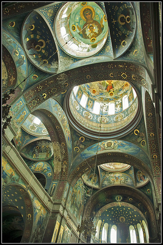Looking up to the soaring interior surface of the Monastery of St. Apostle Simon the Zealot in New Athos