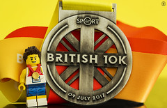 British 10k Run (jezbags) Tags: lego legos toys toy minifigure minifigures macro macrophotography macrodreams macrolego canon60d canon 60d 100mm closeup upclose running medal
