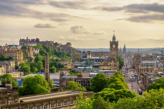 Edinburgh Skyline from Calton Hill (MilesGrayPhotography (AnimalsBeforeHumans)) Tags: architecture auldreekie britain balmoralclocktower balmoral city cityscape castle edinburgh europe evening fe edinburghcastle glow graveyard gardens historic historicscotland iconic caltonhill ilce7m2 landscape lens monument memorial nd outdoors old oldtown oss town tower trees sony sonya7ii a7ii sonyfe2870mmf3556oss princesstreetgardens princesstreet uk unitedkingdom volcano volcanic spire