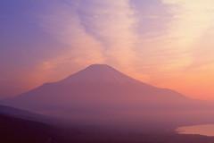 Mt. Fuji and Dusk (chikaraamano) Tags: mtfuji incapacitated sky cloud lakejapan symbol goodlight mountainnature earlysummer refreshing majestic outdoor snow pink yellow nice scape