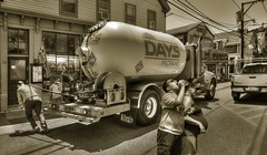 Fueling Up (Jon Scherff) Tags: sepia nikond810 street propane propanetruck summertime provincetown ma candid streetphotography strangers peoplewatching nikon1424mmf28afs