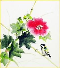 Cotton-rose and tit (Japanese Flower and Bird Art) Tags: flower cottonrose hibiscus mutabilis malvaceae bird tit paridae isao akita nihonga shikishi japan japanese art readercollection