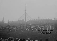 1927 Walkden - Maypole (Landstrider1691) Tags: walkden worsley maypole dancing terrace churchspire stjohnthebaptist fields crowds streamers ribbons terracedhouses 1927 1920s mayday stjohnshilltop