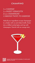 Champino, check out more cocktails at http://ift.tt/2dslAbC (cocktailflashcards) Tags: highball cocktail campari sweet vermouth champagne orange twist