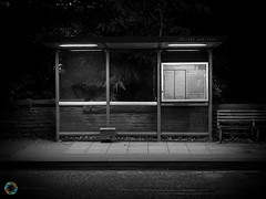 195/365 Bus Stop ([inFocus]) Tags: 365 3652017 project365 photoaday iphone iphone7plus creative mono blackandwhite night nightshot afterdark busstop shelter street