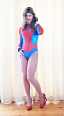 Another pic in my Spiderwoman costume I have loads thanks to Katrina (Miss Nina Jay) Tags: leotard trannie tights heels lycra