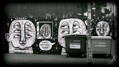 Liverpool graffiti (* RICHARD M (Over 6 million views)) Tags: street mono blackwhite bins wastebins streetart happybirthdayruby hegdish liverpool merseyside europeancapitalofculture capitalofculture eyes faces garbagecan trashcan dumpsters