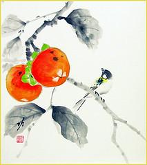 Japanese persimmon and tit (Japanese Flower and Bird Art) Tags: flower persimmon diospyros kaki ebenaceae bird tit paridae isao akita nihonga shikishi japan japanese art readercollection