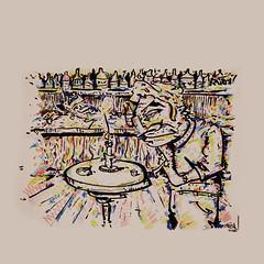 Mr. Tresn (Dieta_1) Tags: illustration colored color buntstifte pens fineliner brushpen bar kneipe cd square quadrat character man alcohol drinks candle light diner for one dieta berlin date lonely dismissed deep satire club nightlife drawing sketch sketchbook design