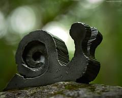 iron snail (Furcletta) Tags: zurich zh switzerland che snail iron closeup 70200mm28gvrii handheld green black stone bokeh wehrenbach gully