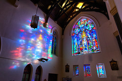 I heard you glowing in the chapel (Pat Charles) Tags: church chapel hawthorn melbourne victoria australia catholic stainedglass glow backlight reflection reflected west sunset afternoon nikon immaculateconception glenferrie religion holy 1001nights 1001nightsmagiccity